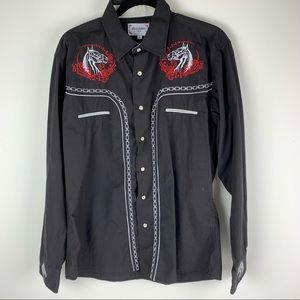 Ace of Diamond Western Embroidered Button Up Shirt size Large